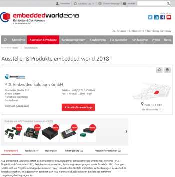 Picture of ADLs Exhibitor Profile at Embedded World 2018
